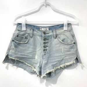 Free People Light Blue Denim Cut Off Shorts 26